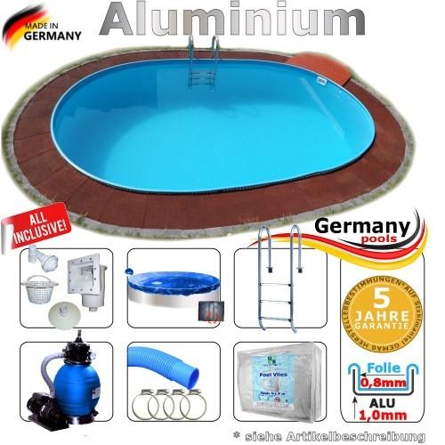 8,7 x 4,0 x 1,25 Alu Schwimmbecken Swimmingpool Komplettset