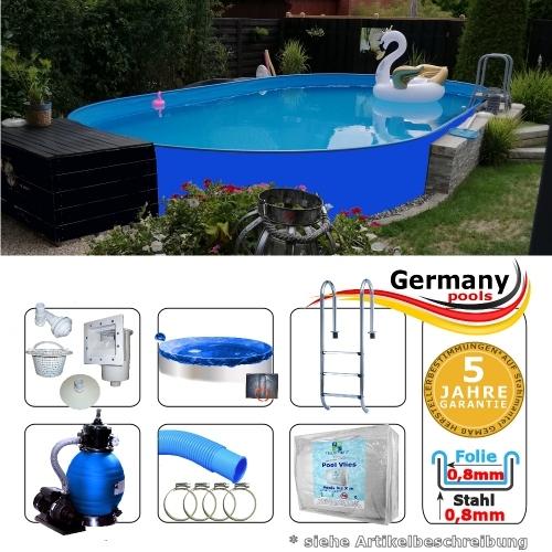 Ovalbecken Blau 7,15 x 4,0 x 1,25 m Komplettset