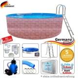 350 x 120 cm Poolset Gartenpool Pool Komplettset Brick