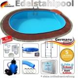 5,3 x 3,2 x 1,25 m Edelstahl Ovalpool Einbau Pool oval Komplettset