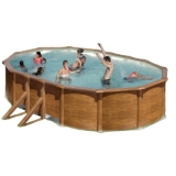 500 x 300 x 120 Holzpool Oval Set Holz Optik
