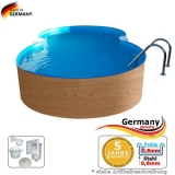 7,25 x 4,6 x 1,2 Achtformbecken Holz-Muster Achtform-Pool Wood