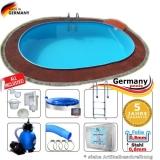 7,30 x 3,60 x 1,20 m Pool oval Komplettset