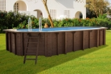 8,40 x 4,90 x 1,33 m Holzpool oval Holzbecken Pool Set