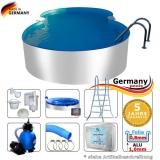8,55 x 5,00 x 1,25 m Aluminium-Achtformpool Komplettset Alu-Pool