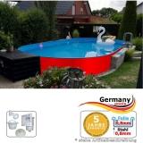 Ovalpool Rot 490 x 300 x 125 cm