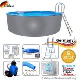 Pool aus Edelstahl 420 x 125 cm Edelstahlpool Komplettset