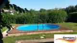 Ovalbecken Blau 7,37 x 3,6 x 1,25 m Komplettset